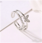 Silver butterfly ring - size 7