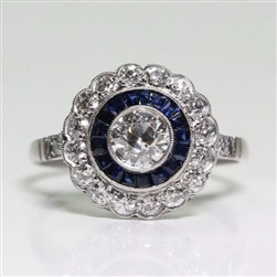 Antique style blue rhinestone round ring