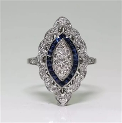 Antique style blue rhinestone ring