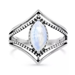 Silver ring with simulated white opal
