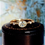 Gold ring with clear oval rhinestone