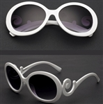 Round white sunglasses with black lens