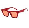 Clear red pointed sunglasses with red lens