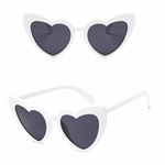 White heart sunglasses with black lens