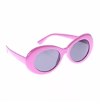 Hot pink oval rimmed sunglasses with black lens