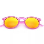 Round matte pink rimmed sunglasses