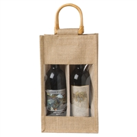 Jute Vino-Sack, Two Bottle with Window