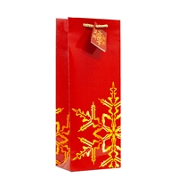 Holiday Snowflake Red 1 Bottle Bag