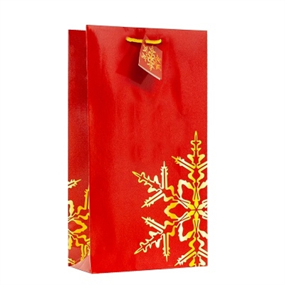 Holiday Snowflake Red 2 Bottle Bag