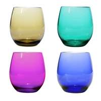 Plastic BPA Free Stemless, Set of 4 Asst, Jeweltones