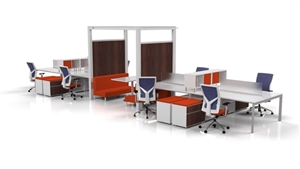 Office Bench, Desk, and Chairs with separator
