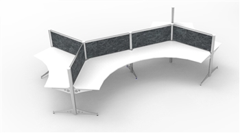 "120 Degree, 6 Cluster, Workstation Size - 42""W x 42""W x 24""D x 49""H, 8 Wire/4 Circuit Electrics with Base Feed"