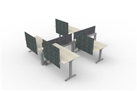 Fence & Height Adj Tables - 4 Pack L Config, Double Sided