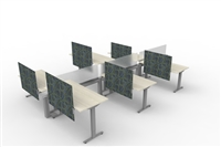Fence & Height Adj Tables - 6 Pack L Config, Double Sided