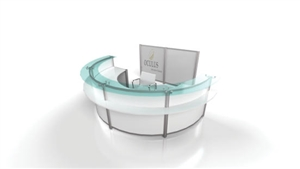 Curved Reception Station wit Glass Transaction