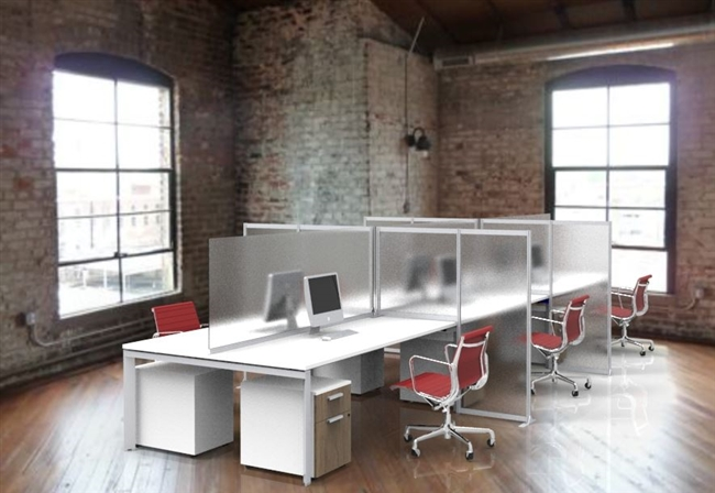 Steelcase Ology Bench electric height adjustable benching workstation with privacy screens