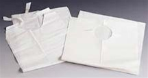 "Lab Bibs Tissue Poly Tie Back 16"" White (EXLB16)"