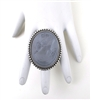 IMPERIAL BLUE SMOKE GLASS LADY CAMEO RING