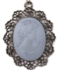 IMPERIAL BLUE SMOKE GLASS LADY CAMEO NECKLACE