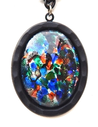 BLACK GLASS OPAL #2 NECKLACE