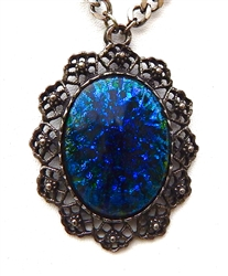 BLUE GLASS OPAL NECKLACE