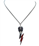 DEVILS ARROW SMOKE SKULL & LIGHTENING BOLT NECKLACE