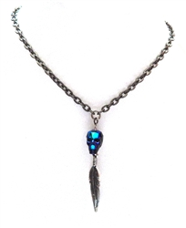 JERICHO MIDNIGHT MOON SKULL & FEATHER NECKLACE