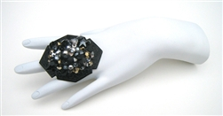 BLACK CAVIAR COCKTAIL RING