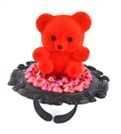 BABY'S ON FIRE RED FUZZY BEAR RING