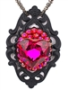 BABY'S ON FIRE FUSCHIA HEART NECKLACE