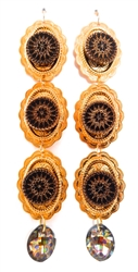 PONDEROSA LONGMIRE GOLDEN CONCHO PEACOCK EARRINGS