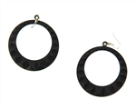 FLAT BLACK METAL STUDDED HOOP EARRINGS