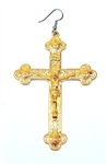 GOLD JESUS CROSS EARRING