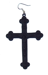 FLAT BLACK JESUS CROSS EARRING