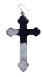 GUN METAL SCALLOPED CROSS EARRING