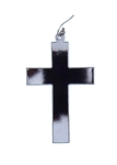 GUN METAL FLAT CROSS EARRING