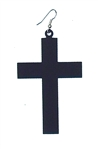 FLAT BLACK FLAT CROSS EARRING