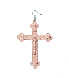 ROSE GOLD JESUS CROSS EARRING