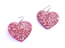 CRAZY CUPID PINK GLITTER HEART EARRINGS