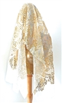 CHER CREAM MESH GOLD SEQUINS VEIL
