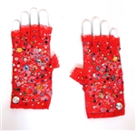 CARNIVAL RED LACE PUNK GLOVES