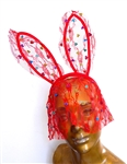 GROOVE IS IN THE HEART RED LACE BUNNY EARS