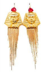 KING TUT SCARLET FRINGE EARRINGS