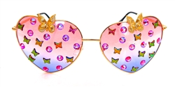 FAIRY REBEL PEACOCK SWALLOWTAIL GILT BUTTERFLY JUMBO HEART GLASSSES