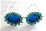 MORNING GLORY BLUE BIRDCAGE GLASSES #2