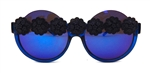 BLACK CHANTILLY BLUE PEEKABOO GLASSES
