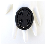 FLAT BLACK DRUNK CROSS RING
