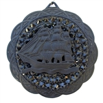 FLAT BLACK PIRATE SHIP SCALLOPED MEDALLION