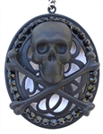 FLAT BLACK SKULL & BONES OVAL MEDALLION