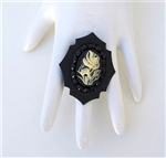WHITE BLACK ROSE CHARM MINI RING